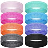 SATINIOR 8 Pieces Sweatbands Non Slip Headbands Stretchy Running Sports Headband Workout Headband Grip Silicone Yoga Hair Band Elastic Exercise Hair Wrap for Women Men (Assorted Solid Colors)