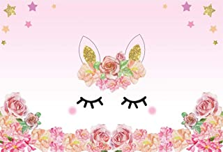 Laeacco Cute Smilling Face Background 5x3ft Vinly Photography Backdrop Cartoon Gold Ears with Flowers Eye Stars Watercolor Flowers Pink Background Sweet Girls Baby Children Portratis