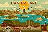 Crater Lake National Park, Oregon, Geometric 105798 (12x18 Art Print, Wall Decor Travel Poster)