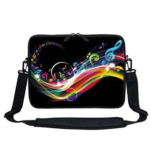 Meffort Inc 13 13.3 Inch Neoprene Laptop/Ultrabook/Chromebook Bag Carrying Sleeve with Hidden Handle and Adjustable Shoulder Strap - Rainbow Music Note