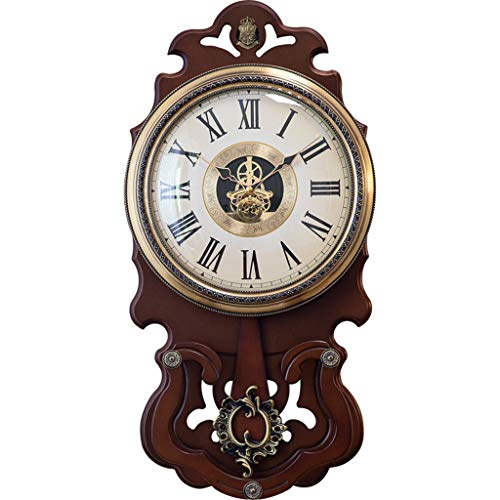 horloge murale Style européen placage de cuivre Vitesse Salon Chambre atmosphère en Bois Montre Suspendue