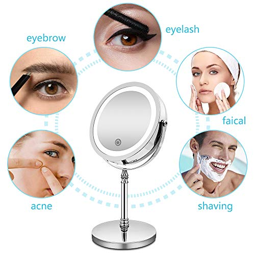 7-Inch LED Dubbelzijdige Cosmetische Spiegel 360° Rotatie USB Oplaadbare Touch Dimbare Make-Upspiegel Scheren Badkamerlamp Make-Upspiegel,10X