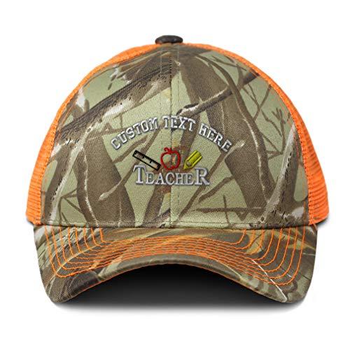 Custom Camo Mesh Trucker Hat Teacher Ruler Apple & Pencil Embroidery Cotton Neon Hunting Baseball Cap One Size Orange Camo Personalized Text Here