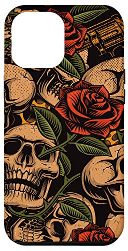 iPhone 12 Pro Max Skull Roses Red Vintage Traditional Flash Tattoo Design Case