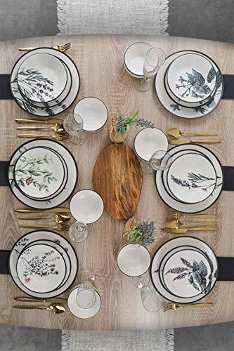 Juego de comedor de jardín de flores de 24 piezas, 6 personas, platos hondos, platos llanos, platos de postre y cuencos, vajilla moderna de estilo vintage, servicio combinado.