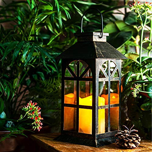 Solar Lantern–Outdoor Classic Decor Bronze Antique Metal and Glass Construction Mission Solar Garden Lantern Indoor and Outdoor Solar Hanging Lantern Entirely Solar Powered Lantern of Low Maintenance
