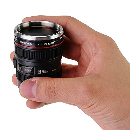 Kangkang@ Mini Camera Lens Cup 24-105mm Coffee Tea Travel Mug Stainless Steel Thermos with Portable Key Chain Keyring caneca Copos