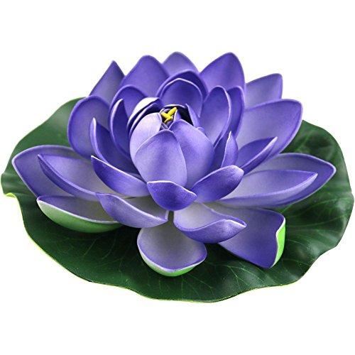 JAROWN Lot de 4 fleurs de lotus artificielles flottantes en mousse EVA pour décoration de bassin d'aquarium (18 cm, violet)