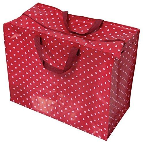 LS Design XXL Jumbo Bag Einkaufstasche Shopper Riesentasche Tasche Allzwecktasche Recycled Rot gepunktet
