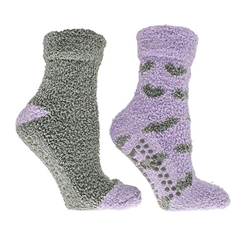 MinxNY Women's Non-Skid Warm Soft and Fuzzy Lavender Infused 2-Pair Pack Slipper Socks with Lavender Sachet Gift, Hearts, Grey & Periwinkle