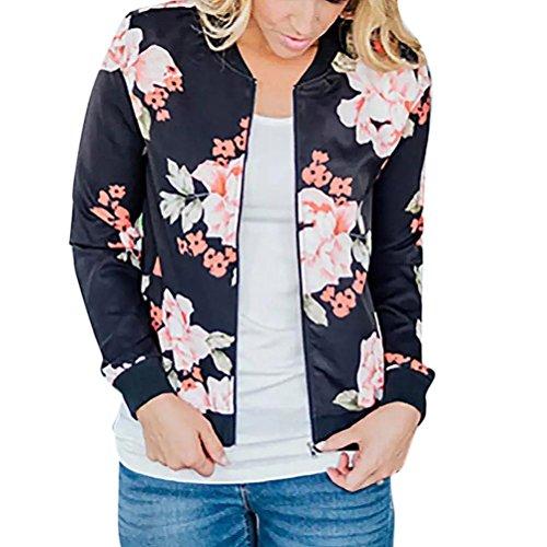 Longra Mode Damen Jacken Blumendruck Bomberjacke Bikerjacke Reißverschluss Fliegerjacke Damen Übergangsjacke Windbreaker Kapuzenjacke Frauen Sweatshirt Pullover Baseball Mantel Outwear (l, Schwarz)