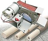BaiHQF Mini Lijadora Banda Eléctrica, DIY Pulidora Máquina, Cuerpo de Metal, 7 Velocidad Regulable con 10 Cintas Abrasivas para Pulirmodelos Bricolaje