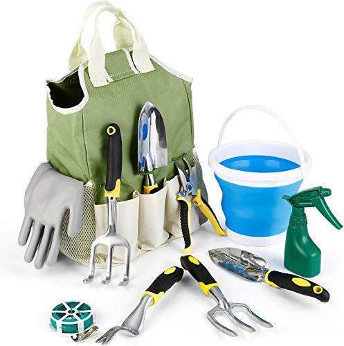 amzdeal Garden Tool Set 11Pieces Chrome-Plated Aluminum Alloy Gardening...