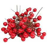 Morza 100 Piezas 8mm Artificial Red Baya del Acebo árbol de Navidad Fuera de la Florida de Navidad Decoración