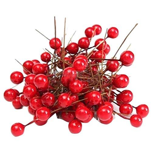 100pcs Artificial Espuma Rojo vívido Bayas del Acebo 100pcs Artificial Navidad de la Baya Inicio Garland Decoración de Navidad del Ramo Floral de la Baya de la Fruta