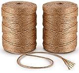 6ply Bramante de Yute 100M*2Pcs Natural Yute Twine Cuerda de Cáñamo Cordel mejor Arts Crafts – Cordel de regalo Twine Industrial de embalaje Materiales resistente cadena para jardinería aplicaciones