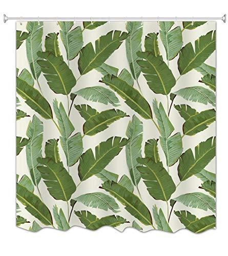 A.Monamour Fond Blanc Arbre Bananier Vert Feuilles Plantes Tropicales Impression Tissu Polyester Imperméable À L'Humidité Rideau De Douche Résistant 180X200 Cm / 72\