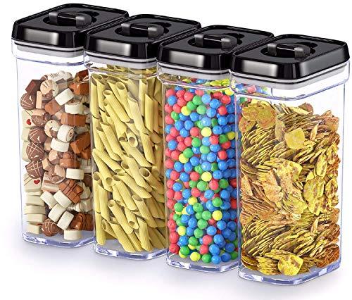 Boîte de conservation alimentaire avec couvercles Middle-4pcs Noir