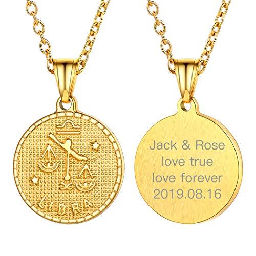 Suplight Sternzeichen Kette für Damen Mädchen 18k vergoldet personalisiert Retro-Stil Münzenkette mit Horoskop Symbol Waage Runde Sternbilder Anhänger Halskette Geschenk für Weihnachten Gerburtstag