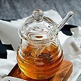 Mkouo Glas honigtopf mit Honigbehälter Honig Löffel Zum Servieren von Honig und Sirup, 9 Ounces (265ml) - 3