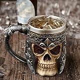 Panker Viking Drinking Skull Mug,Medieval Style Skull Skeleton Coffee Mug, Stainless Steel Liner Viking Pirate Skull Warrior Beer Mug for Coffee Juice Wine Liquor Beer - 450 Ml -15 Oz