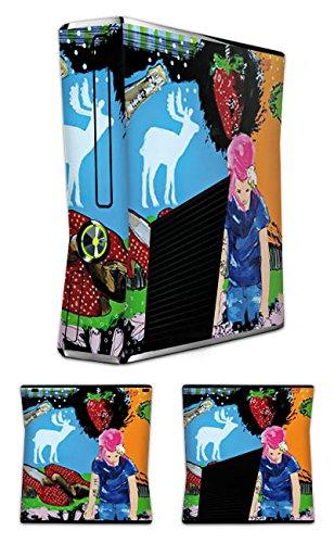 DeinDesign Skin kompatibel mit Microsoft Xbox 360 Slim Aufkleber Folie Sticker Erdbeere Strawberry Sekt