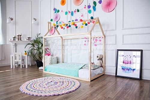 Cama casita con chimenea para colchón de 80 x 160 cm