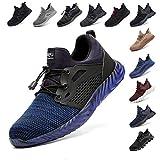 Zapatos De Seguridad para Hombre con Puntera De Acero Mujer Calzado De Trabajo Zapatos De Deportivos Transpirables Construcción Botas Trekking Negro Azul Gris Verde Rosa 36-48 EU Azul 42
