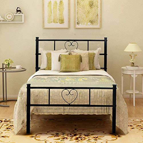 Aingoo Single Bed Frame Solid 3ft Metal Beds with Heart Shaped Fits for 90 * 190 cm Mattress Large Storage Space Black