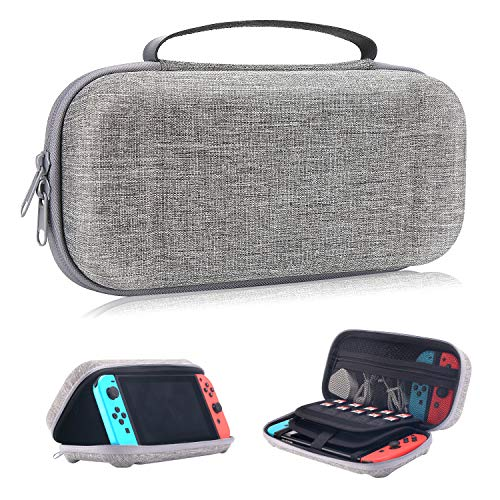 Moretek Compatible with Nintendo Switch Carrying Case EVA Hard Shell Travel Protective Cases for Nintendo Switch Game Console & Accessories (Nyloy Grey)