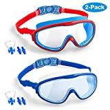 Elimoons Kids Swim Goggles, 2-Pack Wide Vision Swimming Glasses for Children and Early Teens from 5 to 15 Years Old, Wide Vision, Anti-Fog, Waterproof, UV Protection