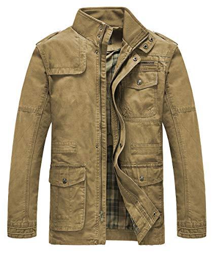 Heihuohua Men's Field Jacket Cotton Stand Collar Lightweight Military Coat Khaki