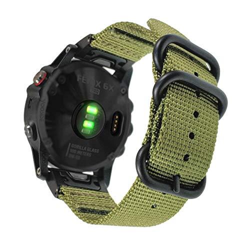YOOSIDE Correa de reloj para Fenix 5X/Fenix 6X, 26 mm, nailon tejido QuickFit NATO con cierre de acero inoxidable para Garmin Fenix 6X Pro/Zafiro, Fenix 5X/5X Plus, Fenix 3/3 HR, Tactix Delta (verde)