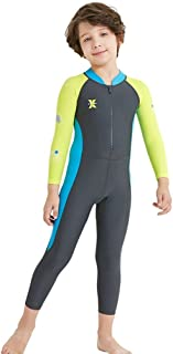 DIVE & SAIL Girls Long Sleeve Rash Guard UPF 50+ Full Swimsuit for Boys Kids