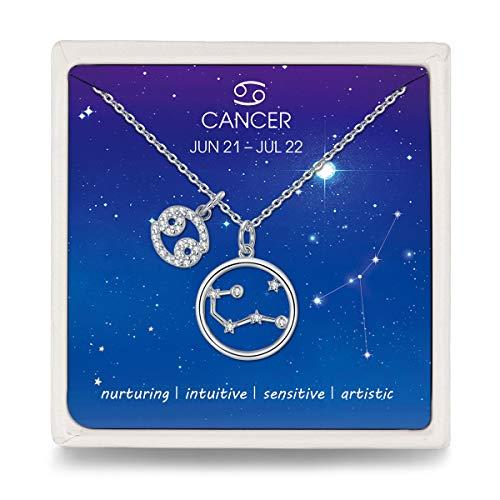 Qings Kette Damen 925 Silber Krebs Sternzeichen Halskette mit Kreis Stern Zirkonia Anhänger, Silberne Kette für Damen Frauen Mädchen