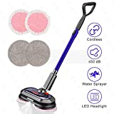 Electric Mop, Cordless Electric Mop with 300ml Water Tank, Polisher with LED Headlight and Sprayer, Spin Mop for...