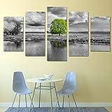 DBFHC Cuadros Modernos Impresión De Imagen Artística Digitalizada Lago Green Tree Lienzo Decorativo para Salón O Dormitorio 5 Piezas XXL