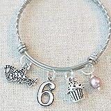 6th BIRTHDAY BRACELET, 6th Birthday Charm Bracelet, 6 Year...