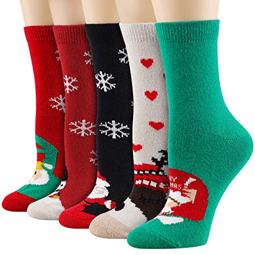 Heatuff Women's Christmas Socks Winter Wool Socks Warm Soft Pattern Crew Socks Gift(5 Pairs) (Multicolor 1 - 5 Pairs)