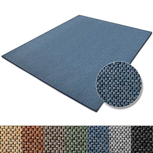 casa pura Teppich Sabang | viele Farben und Größen | Flachgewebe, Sisaloptik | Qualitätsprodukt aus Deutschland | GUT Siegel | für Wohnzimmer, Kinderzimmer, Flur etc. (blau, 140x200cm)