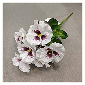 Artificial Flowers Artificial Flowers 11 inch Pansy Flowers Artificial Fake Silk Butterfly (Couleur : White)