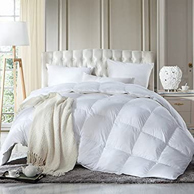 LUXURIOUS FULL / QUEEN Size Siberian GOOSE DOWN Comforter, Duvet Insert, 1200 Thread Count 100% Egyptian Cotton, 750+ Fill Power, 60 oz Fill Weight, 1200TC, White Solid