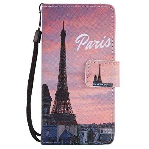 ISAKEN Compatibile con Samsung Galaxy A3 2016 Cover, Libro Portafoglio Custodia PU Cuoio Leather Cover Flip Rigida Wallet Copertina Strap Wallet Caso con Funzione di Supporto - City Sunset
