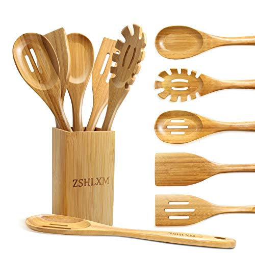 Kitchen Utensil Set Cooking Utensils Set Smooth Surface 6 Pcs Bamboo Kitchen Utensil Set with Holder More Durable than Wooden Bamboo Cooking Utensils Set with Holder Easy to Clean ZSHLXM