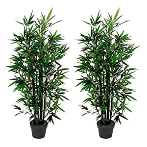 AMERIQUE Pair 4.3 Feet Gorgeous Bamboo Tree Artificial Plant with 6 Black Trunks, in Nursery Pot, Real Touch Technology, 6 Stalks & 996 Leaves Each, Green, 2