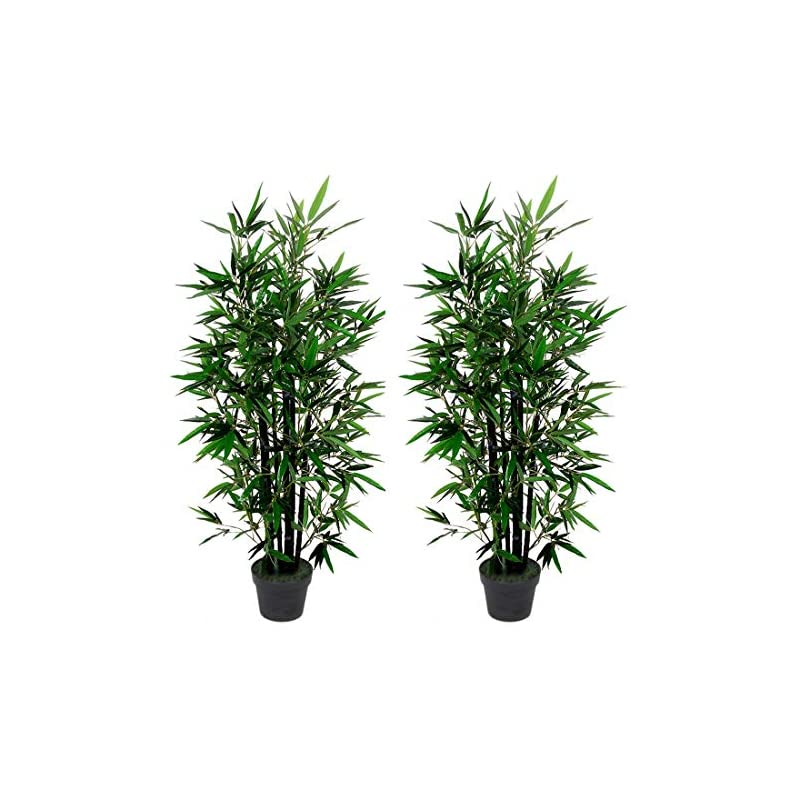 silk flower arrangements amerique pair 4.3 feet gorgeous bamboo tree artificial plant with 6 black trunks, in nursery pot, real touch technology, 6 stalks & 996 leaves each, green, 2
