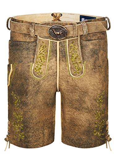 Almbock Lederhose Herren Tracht - Männer Lederhose mit Gürtel aus 100% Hirschleder- Trachtenlederhose Herren braun Größe 52