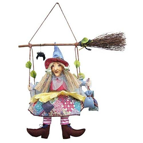 Hexen von Pendle-Olivia Hexe zum Aufhängen von Besen (Blumen) 24cm
