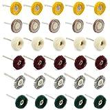 WiMas 30PCS almohadilla de pulido abrasivo cepillos de rueda de pulido conjunto mixto acero alambre cepillo de lana ruedas para herramienta rotativa Dremel