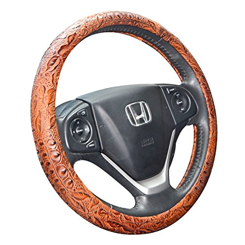 ZYHW Car Steering Wheel Cover Universal 15 inch Auto Antislip Leather Protector Flower Grain Brown